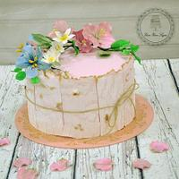 Engagement Cake with wood effect
