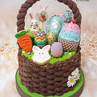 Easter basket cake full of goodies