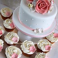 Mini wedding cake and cupcakes :)