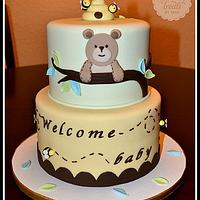 Bear and Bees babu Shower Cake