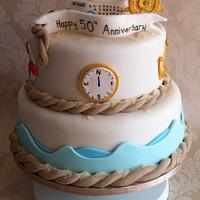 Cruise themed anniversary cake