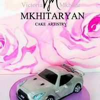 Silver Nissan GT-R Cake