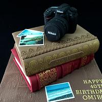 Camera and books cake