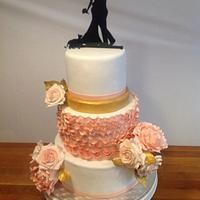 Ruffly wedding cake