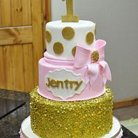 Gold and Pink First Birthday