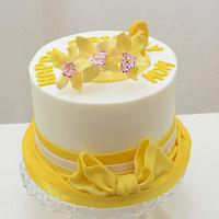 Yellow Orchid on a Cake
