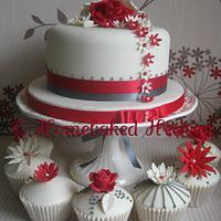 Red/grey cupcake tower
