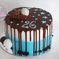 Blue drip rafaello cake