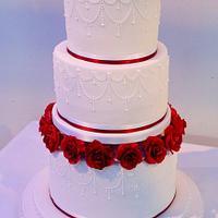 Burgundy rose, piped detail, 3 tier Wedding Cake