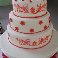 red stencil wedding cake