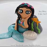 Fondant mermaid cake topper