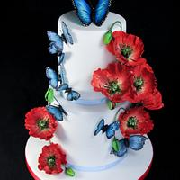 Poppies and Butterflies Summer Cake
