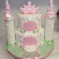 White & Pastel Castle Cake