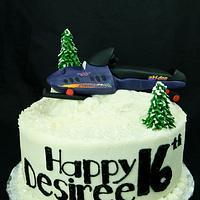 Snowmobile Cake by Jenn
