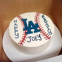 LA Dodgers Baseball Cake