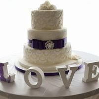 3 tier wedding cake with sugarviel and cricut cake  by CakesByTonilou