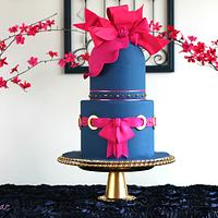Navy Blue Hot pink Bow Cake