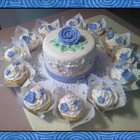 Blue Cake with Cupcakes
