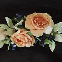 Rose anglaise et myrtilles
