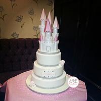 princess castle christening cake