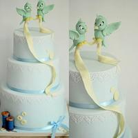 Cinderella inspired wedding cake with flying birds