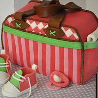 Baby Bag Stork Party Cake by Cup & Cakes