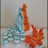Fire and Ice airbrushed cake