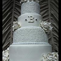 White Wedding Henna Style Cake