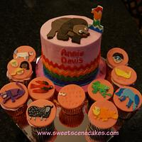 Brown Bear theme 1st birthday smash and character cupcakes