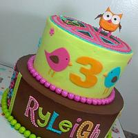 HIPPIE CHICK OWL THEME BIRTHDAY CAKE