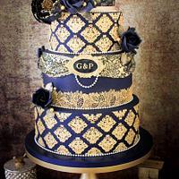 Navy Steampunk Wedding Cake