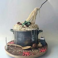 Gravity defying spaghetti and meatball cake