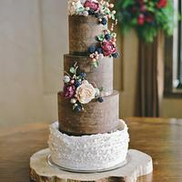 Natural Ganache and Peony/Blackberry Wedding Cake