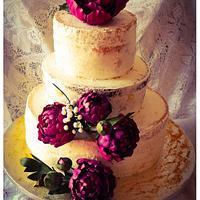 Wedding cake with sugar peonies