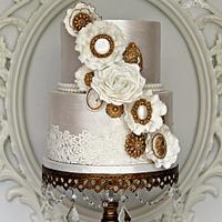 White & Gold Corsage Wedding