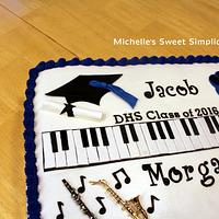 Music and Golf Themed Graduation Cake by Michelle