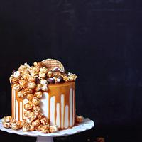 Cheesecake layered with salted caramel & popcorn