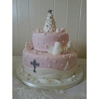Christening cake with a touch of Christmas Magic