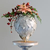 Christmas ball with christmas flower piece