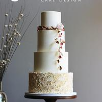 Buttercream Rosette and Garland Wedding Cake
