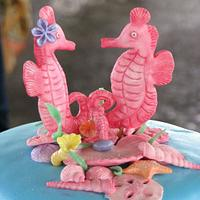 Seahorse Baby Shower cake