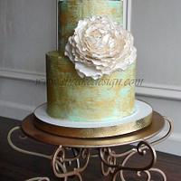 Antique Gold Painted Buttercream Cake