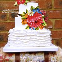 hand painted ruffle cake