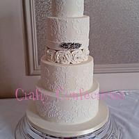Lace wedding dress cake