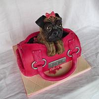 Pug Dog In A Handbag Cake