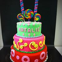 3 tier candy theme bday cake