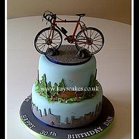 30th Birthday Two Tier Cake for Cycling Enthusiast