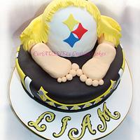 Pittsburgh Steelers baby bum baby shower cake