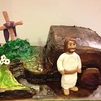 He has risen! Jesus Empty tomb cake by Beverly Coleman