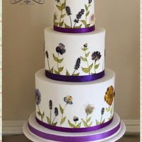 Edible pressed flowers wedding cake